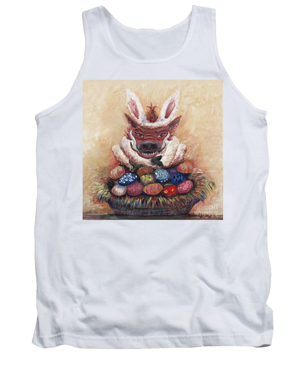 Easter Tank Top featuring the painting Easter Hog by Nadine Rippelmeyer