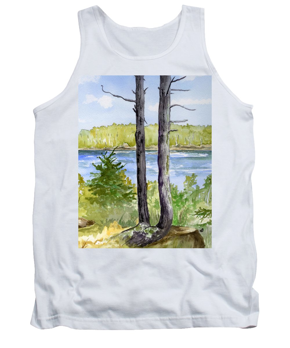Landscape Seascape Trees Ocean Sea Maine Tank Top featuring the painting Eastport Maine Coastal Afternoon by Brenda Owen