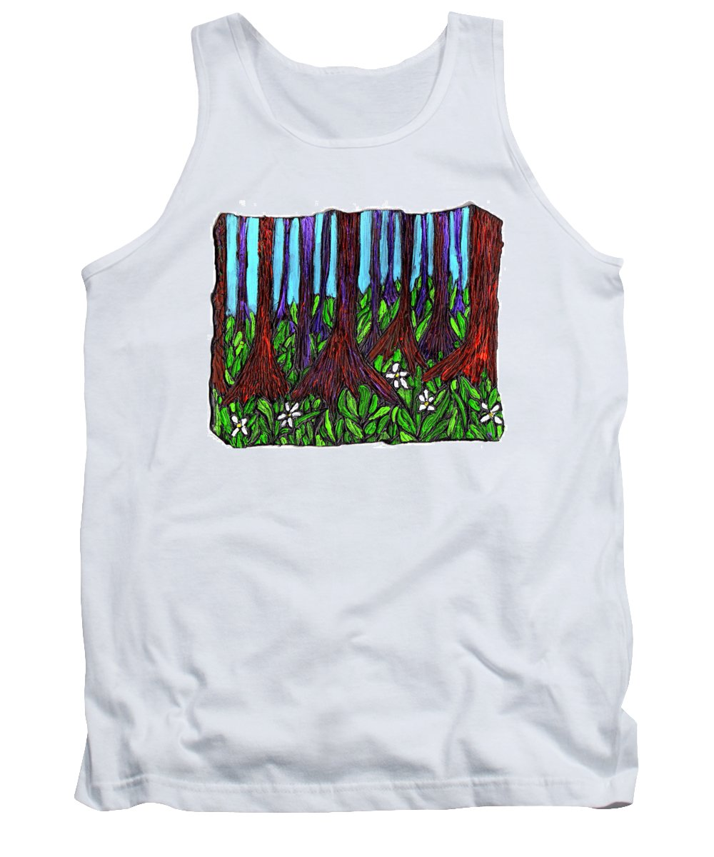 Trees Tank Top featuring the painting Edge Of The Swamp by Wayne Potrafka