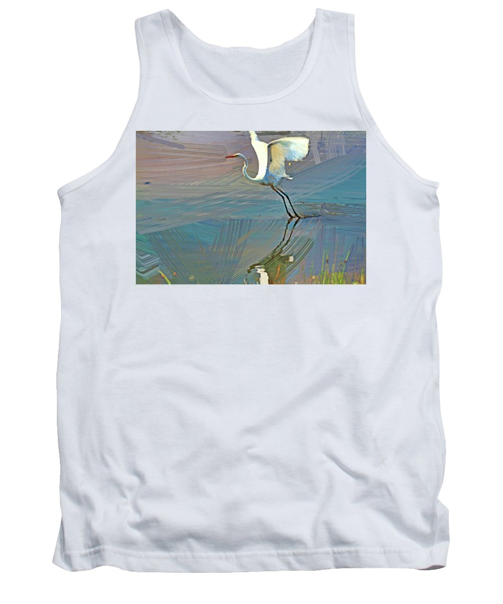 Recent Tank Top featuring the photograph Egret Getting Ready For Take Off by Geraldine Scull