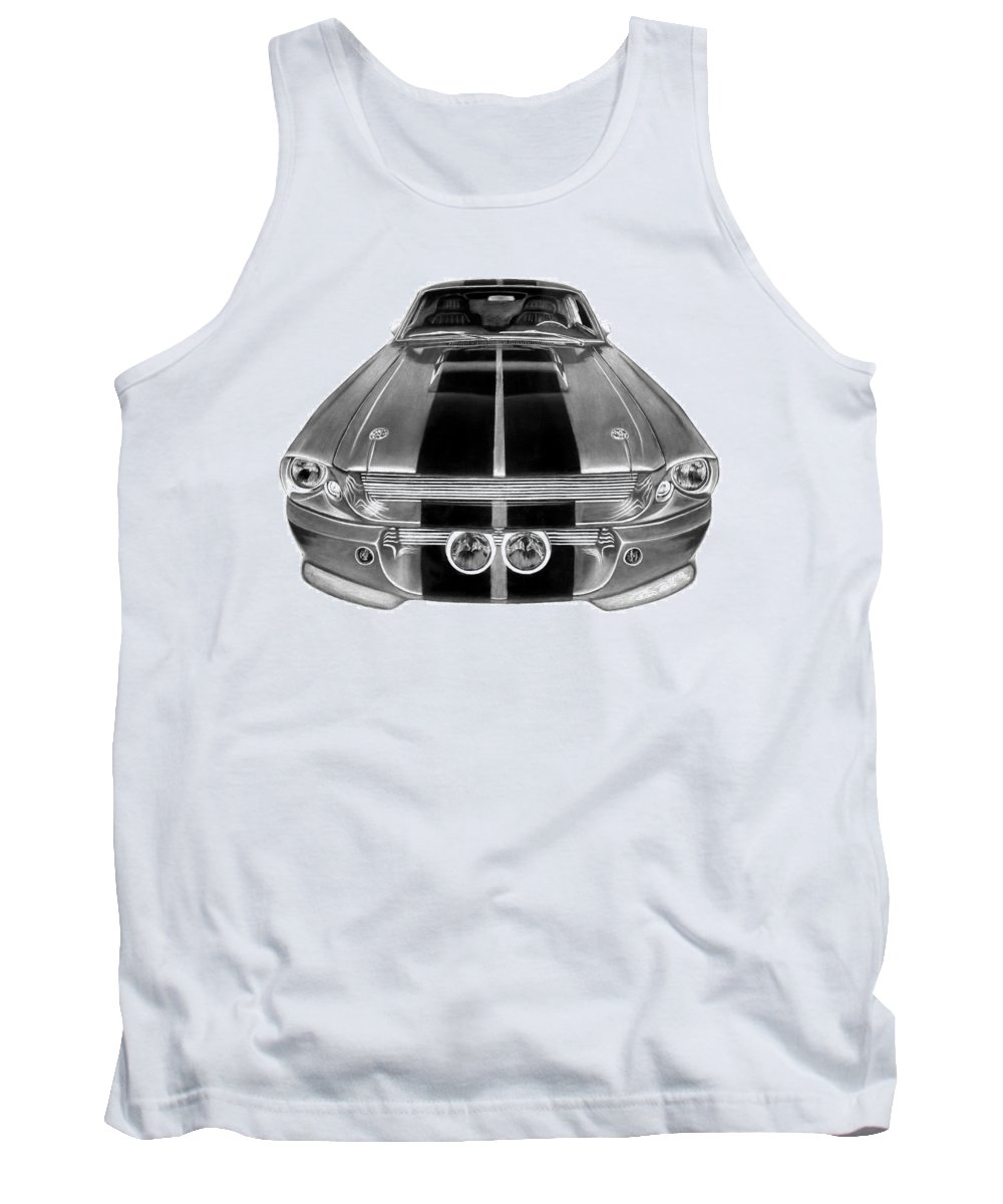 Eleanor Inverted Tank Top featuring the drawing Eleanor Ford Mustang by Peter Piatt