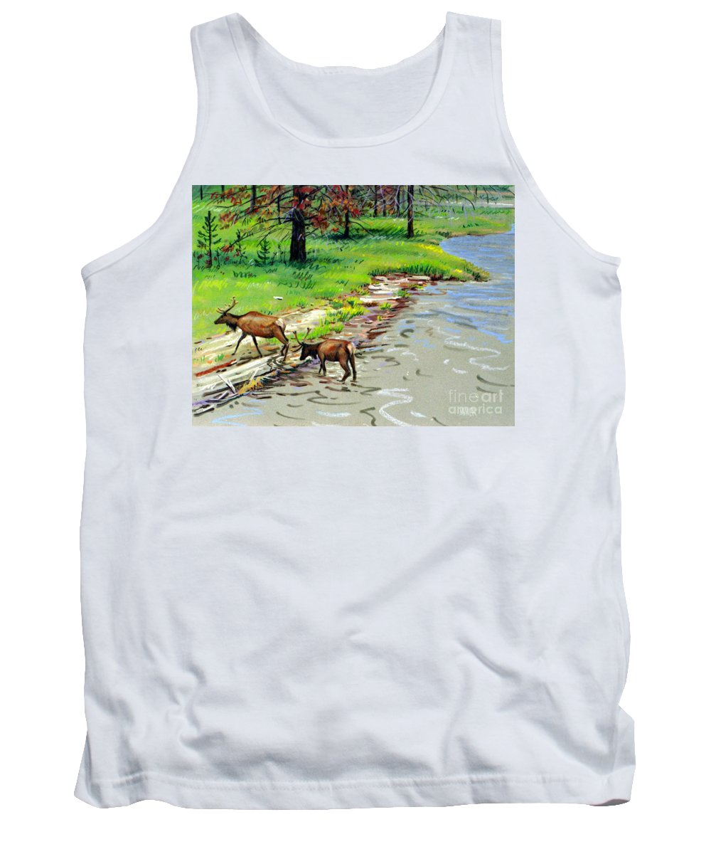 Elks Tank Top featuring the painting Elks Crossing by Donald Maier