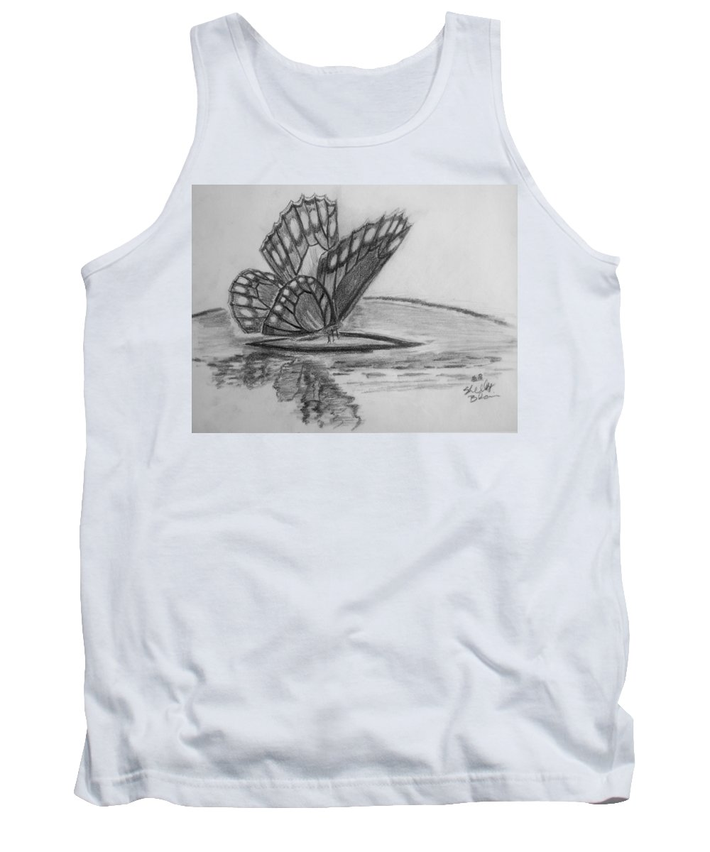 Butterfly Tank Top featuring the digital art Elusive Beauty by Shelley Blair