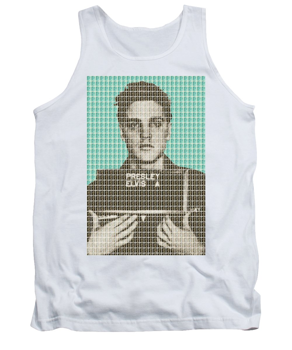 Elvis Tank Top featuring the painting Elvis Army Mug Shot - Blue by Gary Hogben