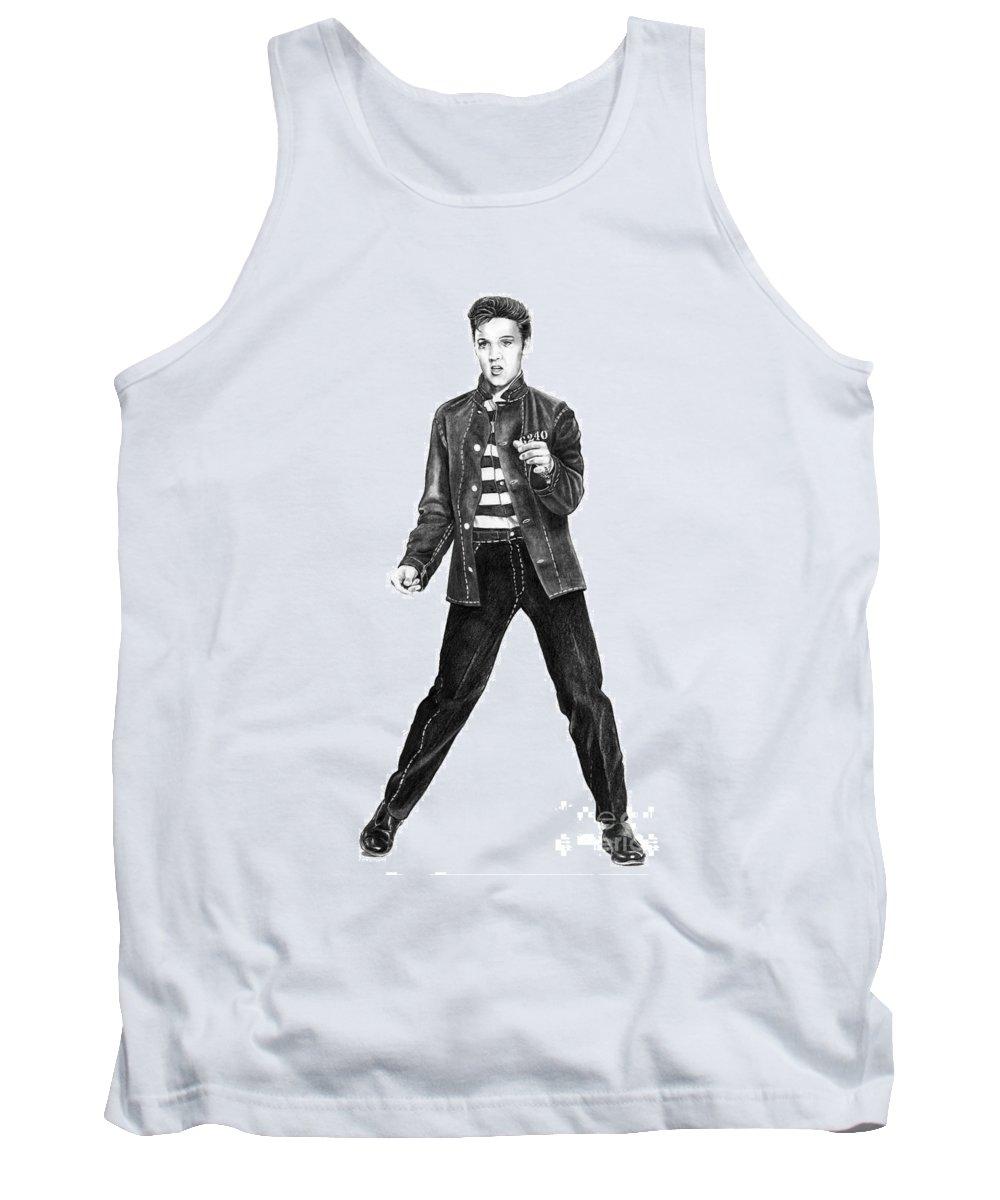 Elvis Tank Top featuring the drawing Elvis Presley  by Murphy Elliott