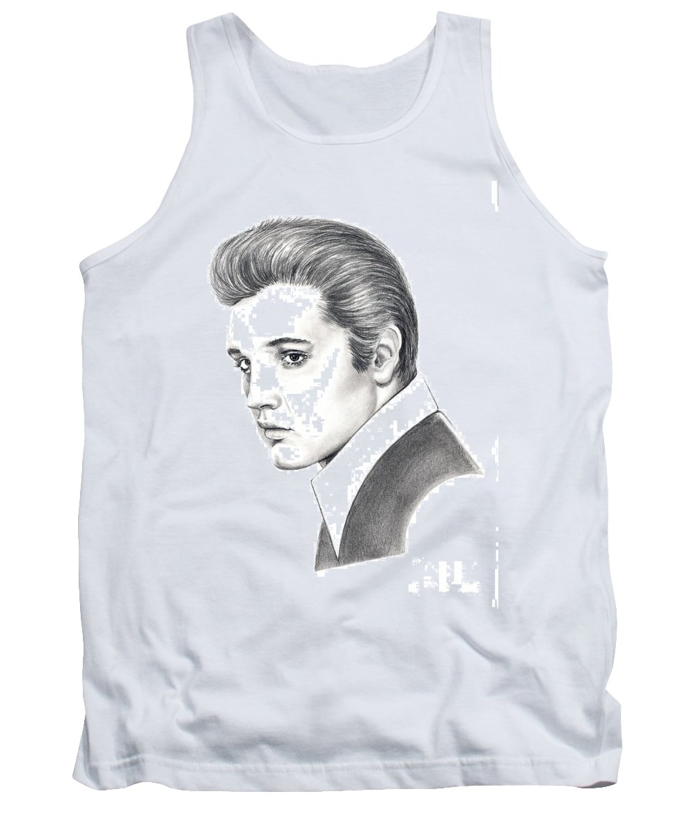 Pencil. Portrait Tank Top featuring the drawing Elvis Presley by Murphy Elliott