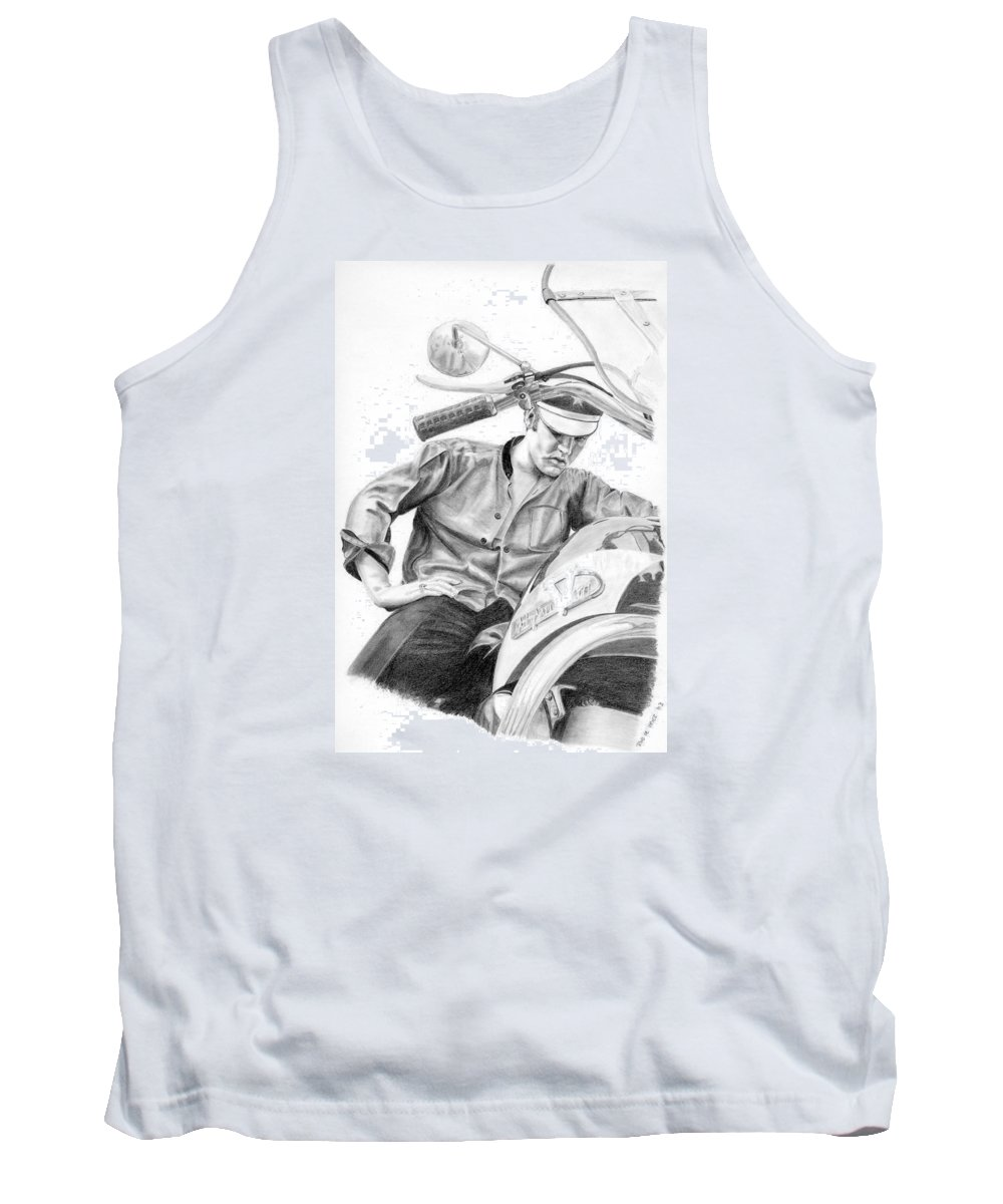 Singer Tank Top featuring the drawing Elvis Presley by Rob De Vries