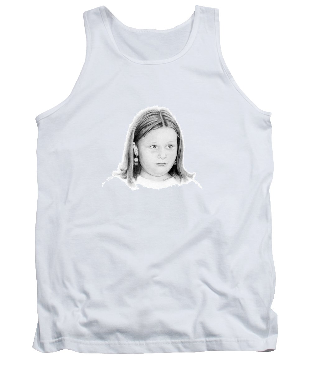 Portrait Tank Top featuring the drawing Emelie by Conrad Mieschke