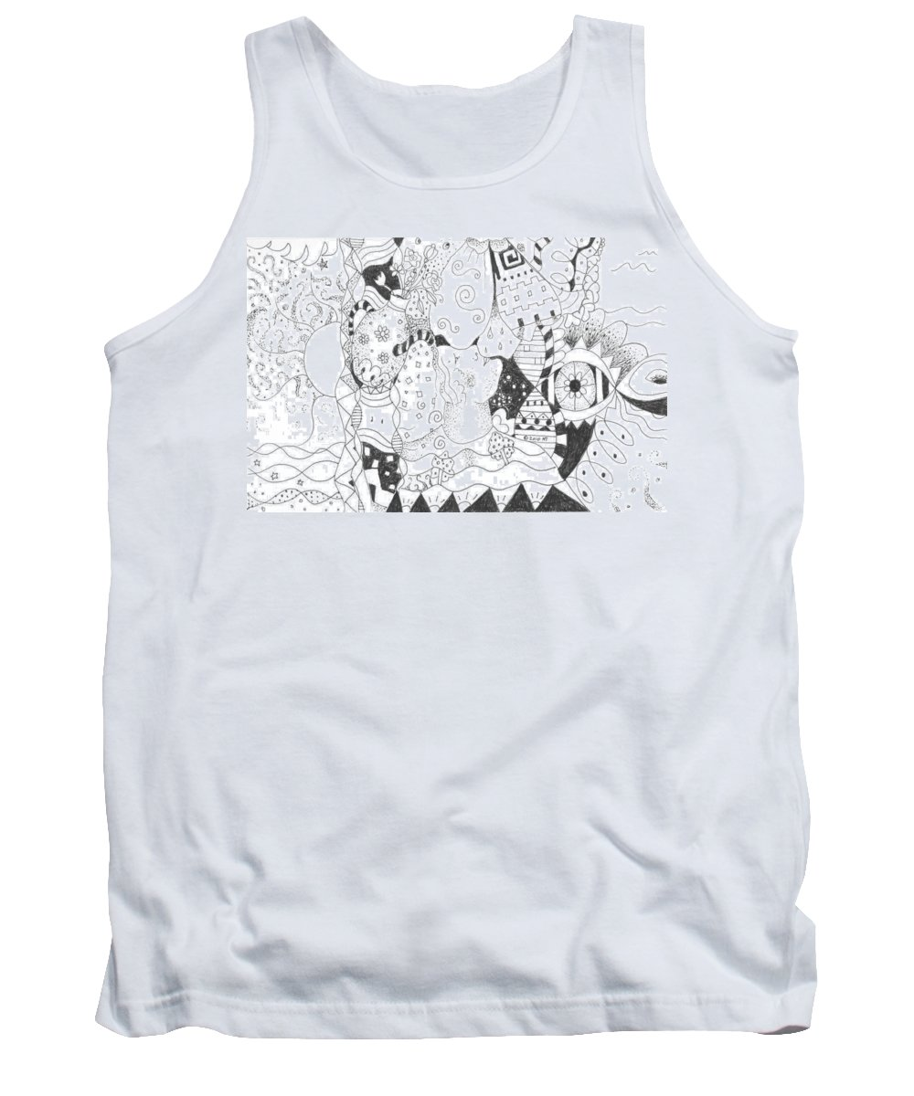 Blessings Tank Top featuring the drawing Endless Blessings by Helena Tiainen