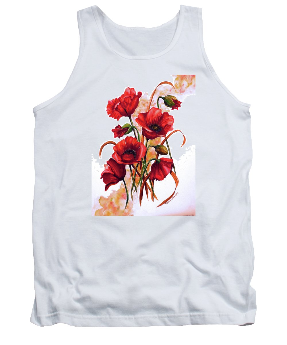 Red Poppies Paintings Floral Paintings Botanical Paintings Flower Paintings Poppy Paintings Field Poppy Painting Greeting Card Paintings Poster Print Painting Canvas Print Painting  Tank Top featuring the painting English Poppies 2 by Karin Dawn Kelshall- Best