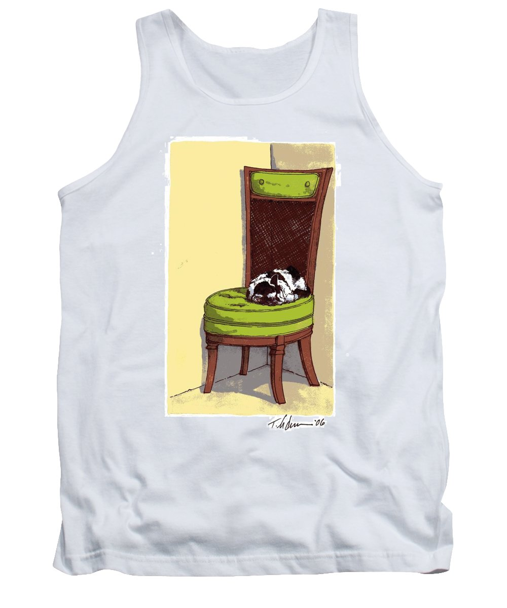 Cat Tank Top featuring the drawing Ernie And Green Chair by Tobey Anderson