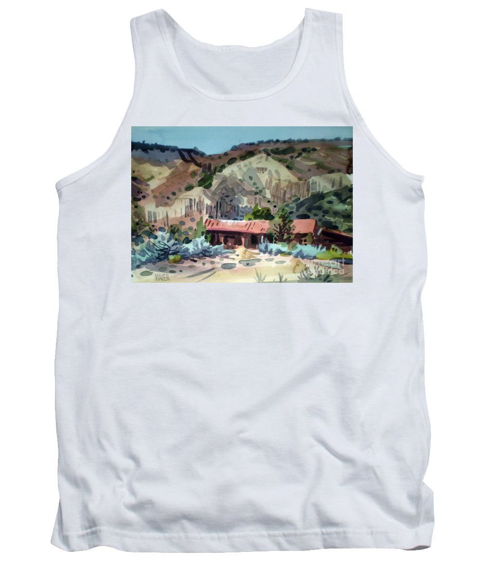 New Mexico Tank Top featuring the painting Espanola On The Rio Grande by Donald Maier