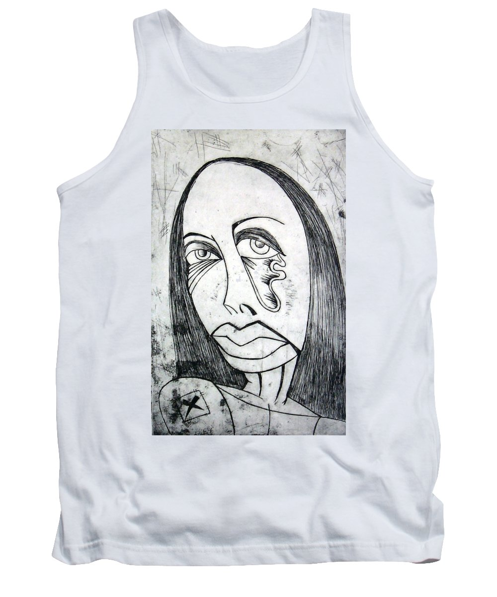 Girl Tank Top featuring the print Etching by Thomas Valentine