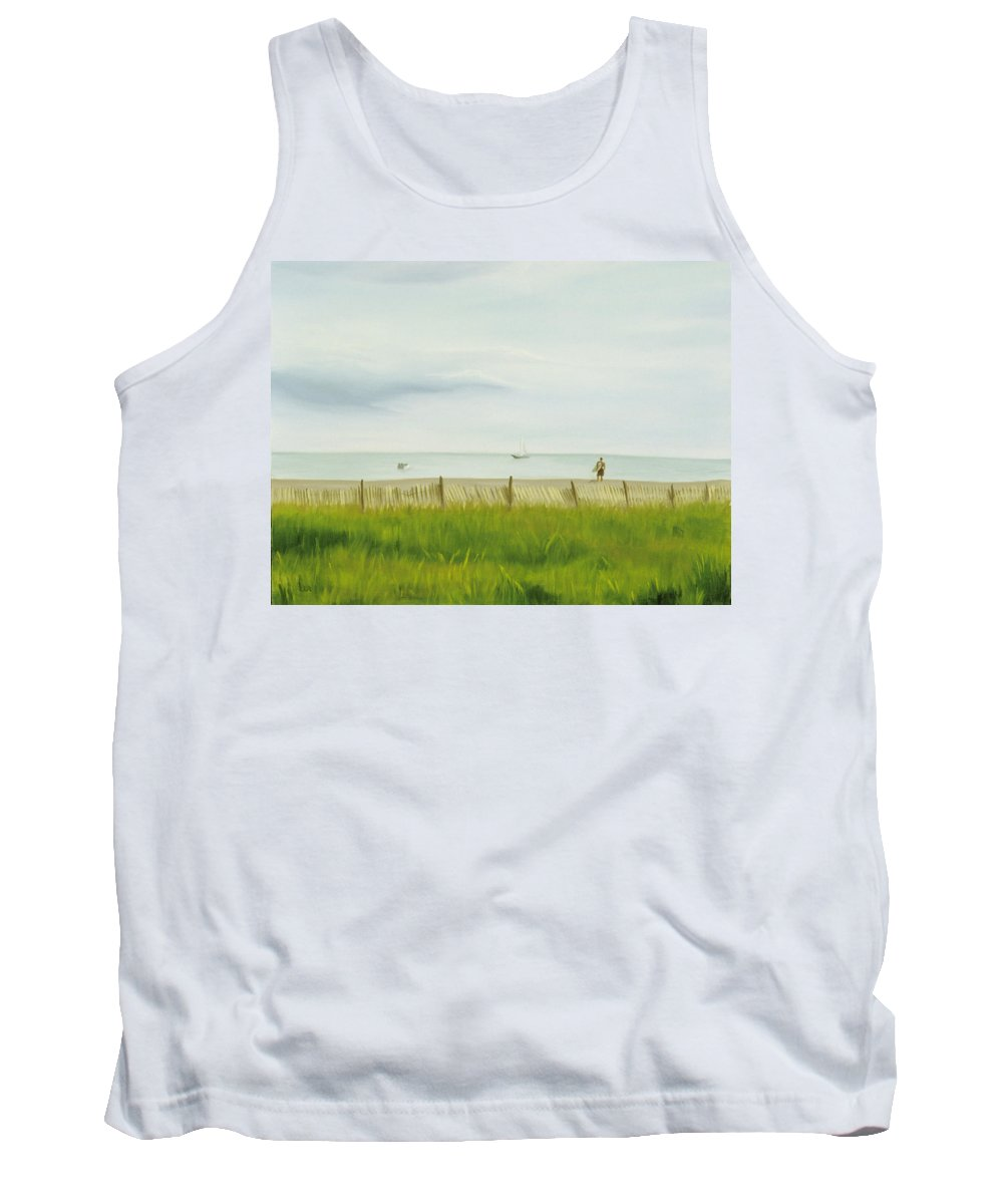 Seascape Tank Top featuring the painting Evening At Cape May by Lea Novak