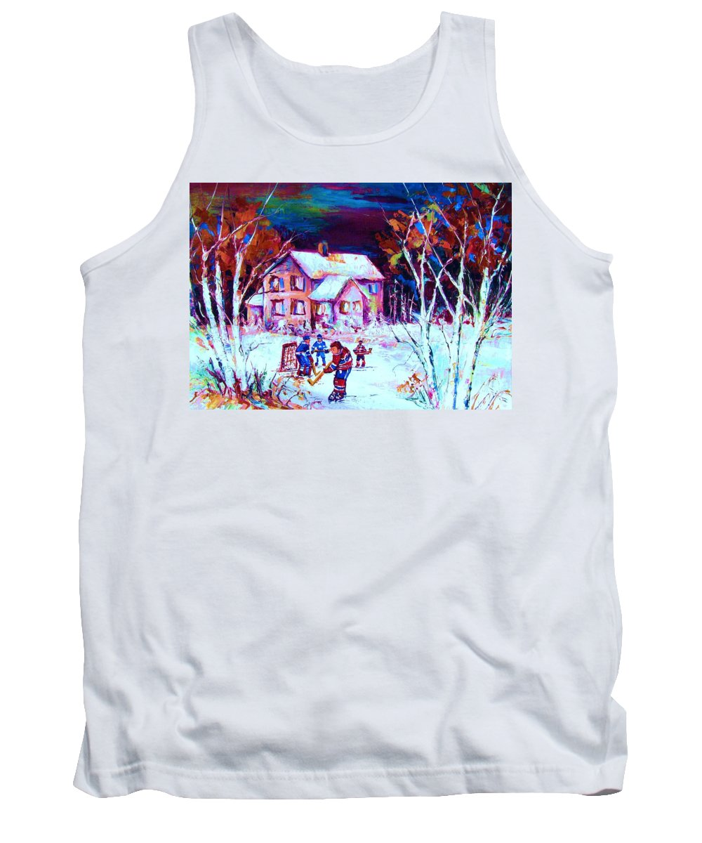 Hockey Game In The Country Tank Top featuring the painting Evening Game At The Chalet by Carole Spandau