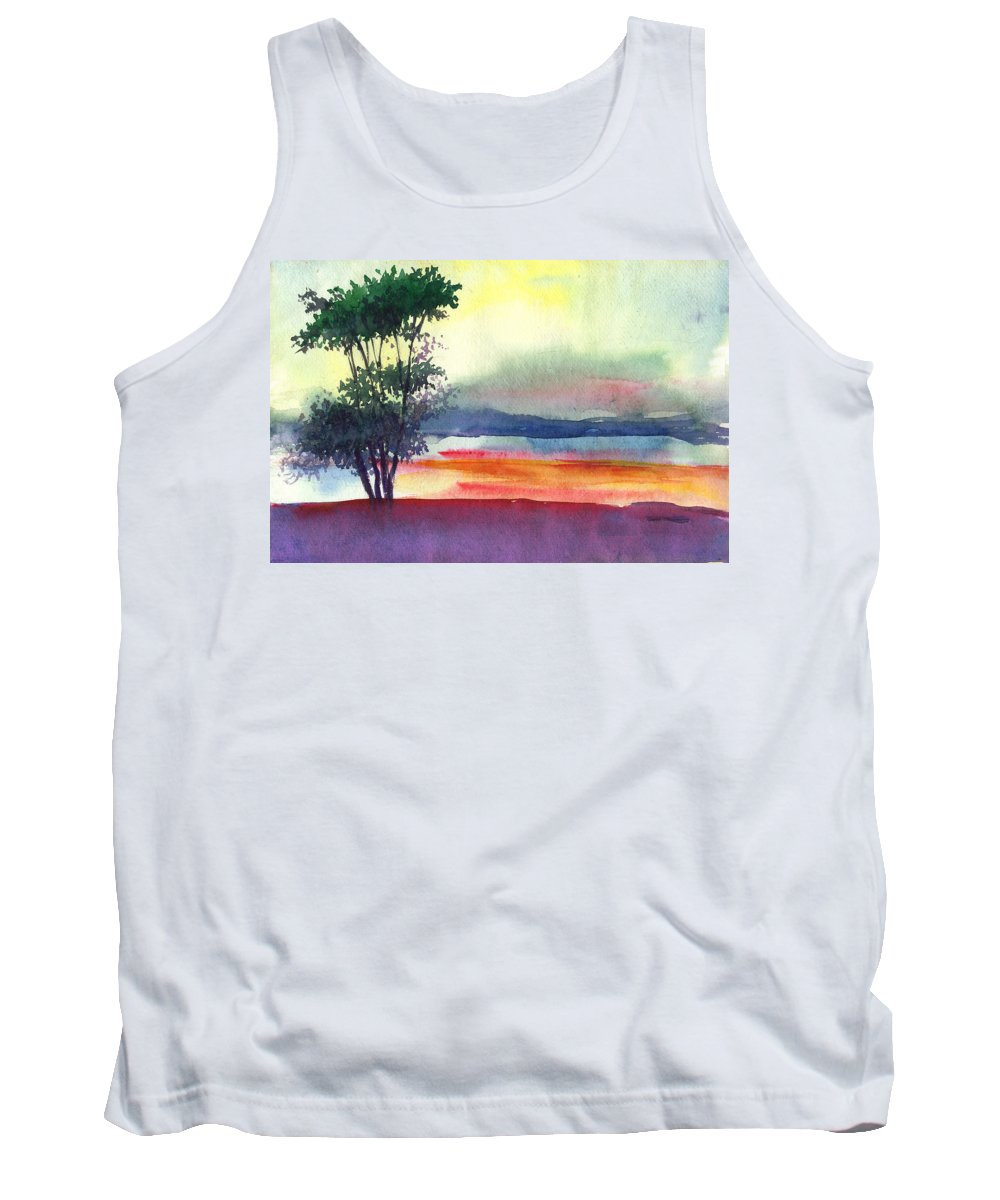 Water Color Tank Top featuring the painting Evening Lights by Anil Nene