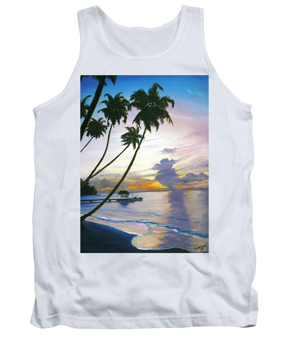 Ocean Painting Seascape Painting Beach Painting Sunset Painting Tropical Painting Tropical Painting Palm Tree Painting Tobago Painting Caribbean Painting Original Oil Of The Sun Setting Over Pigeon Point Tobago Tank Top featuring the painting Eventide Tobago by Karin Dawn Kelshall- Best