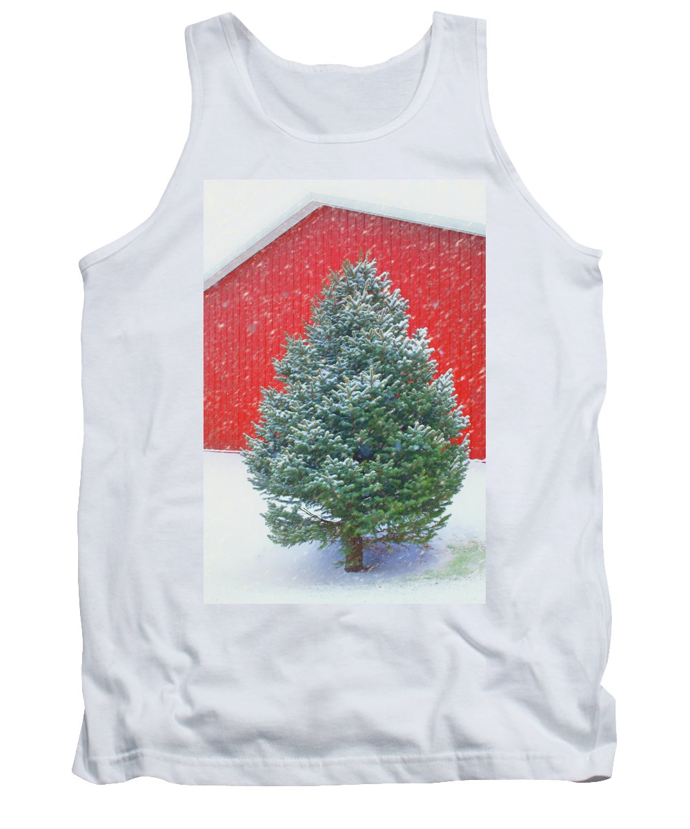 Evergreen Tank Top featuring the photograph Evergreen In Winter #1 by Nikolyn McDonald