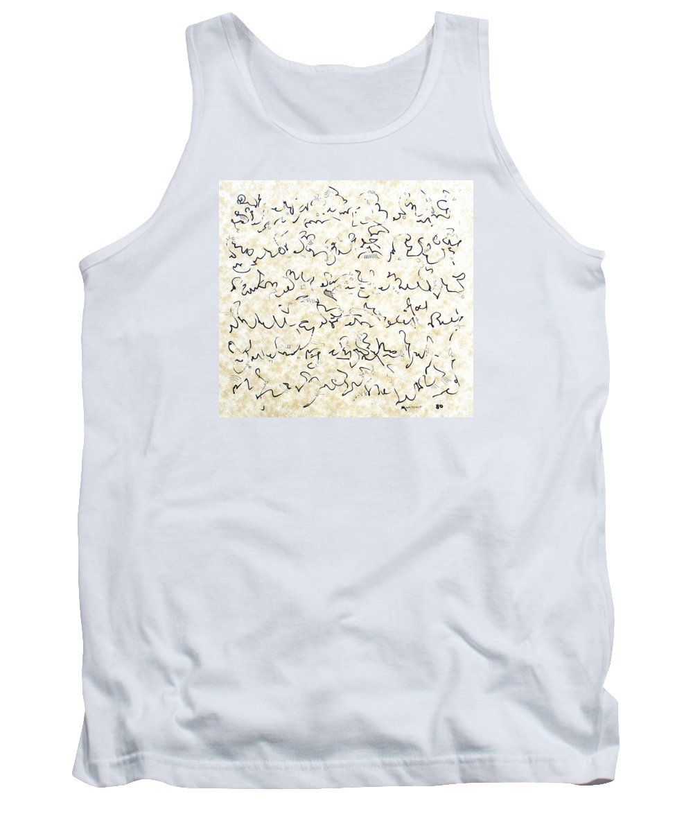 Calligraphy Tank Top featuring the drawing Executive Summary With Notes by Dave Martsolf