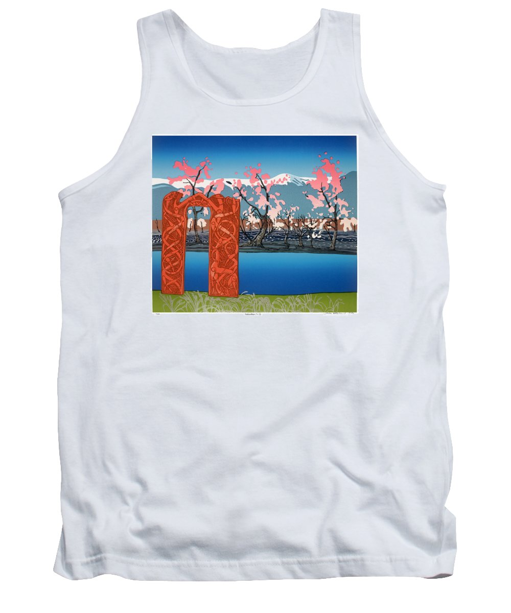 Landscape Tank Top featuring the mixed media Exploration. by Jarle Rosseland