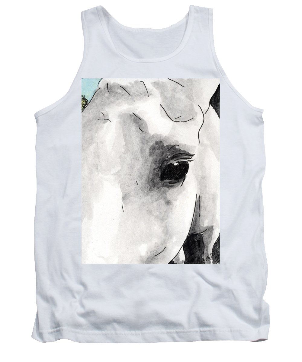 Horse Paintings Tank Top featuring the painting Eye Of The Beauty by Anna Katherine
