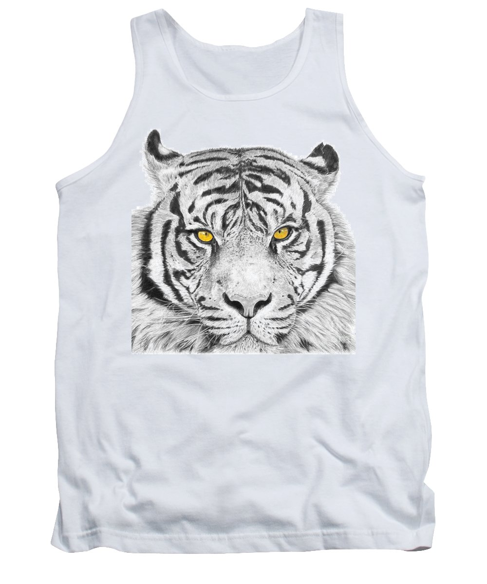 Tiger Tank Top featuring the drawing Eyes Of The Tiger by Shawn Stallings