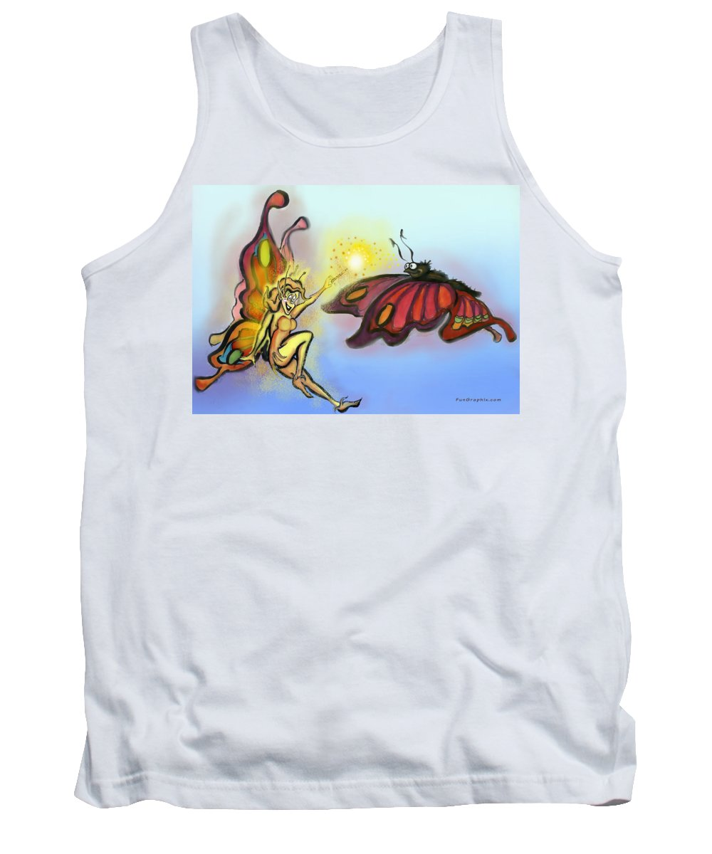 Faerie Tank Top featuring the painting Faerie N Butterfly by Kevin Middleton