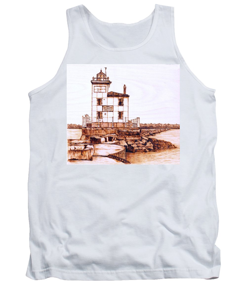 Lighthouse Tank Top featuring the pyrography Fair Port Harbor by Danette Smith