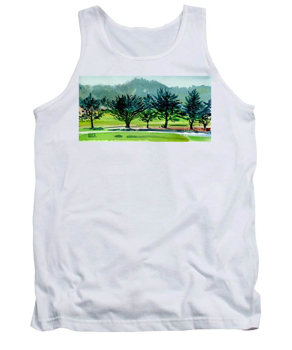 Crystal Springs Tank Top featuring the painting Fairway Junipers by Donald Maier