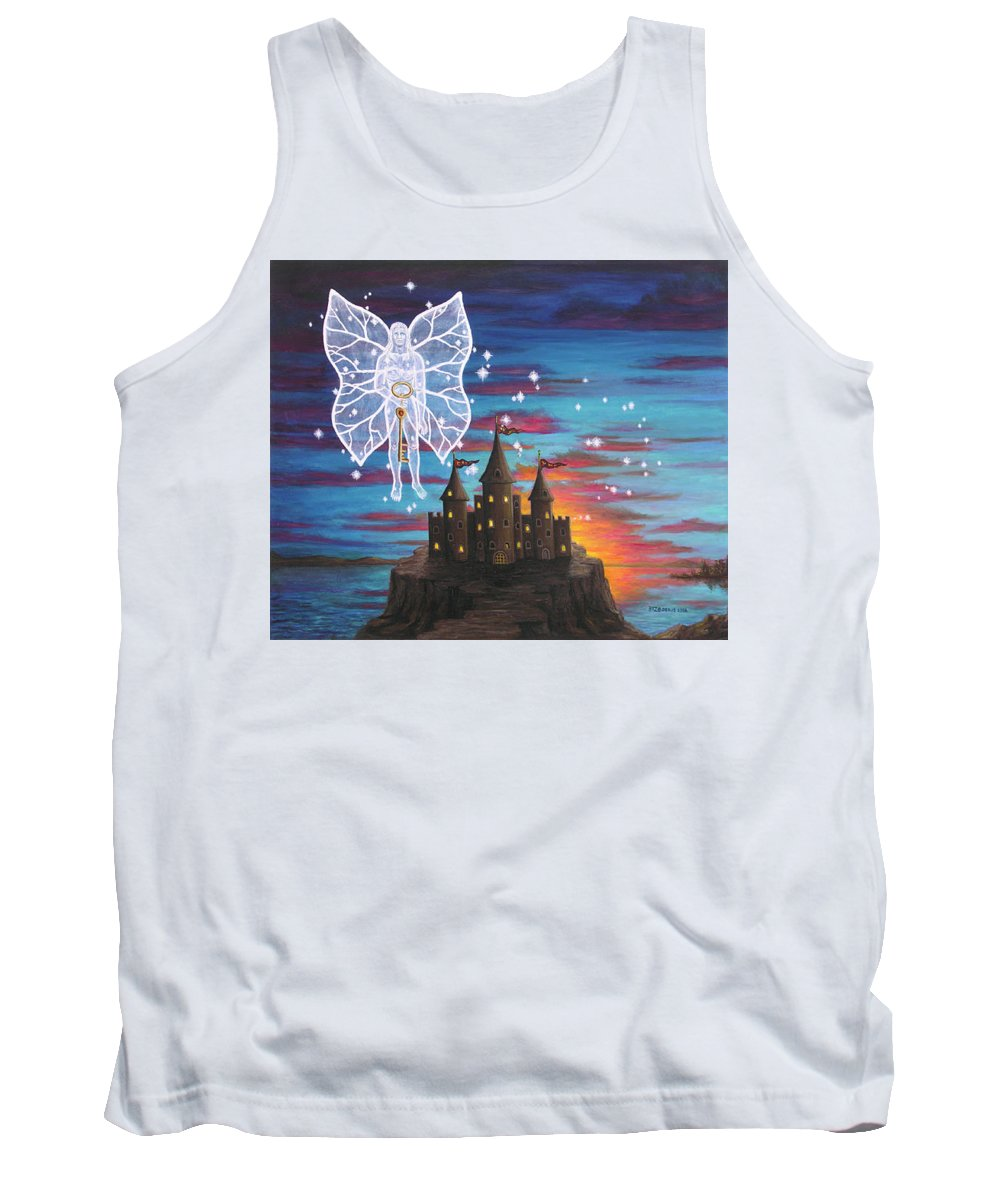 Fantasy Tank Top featuring the painting Fairy Takes The Key by Roz Eve