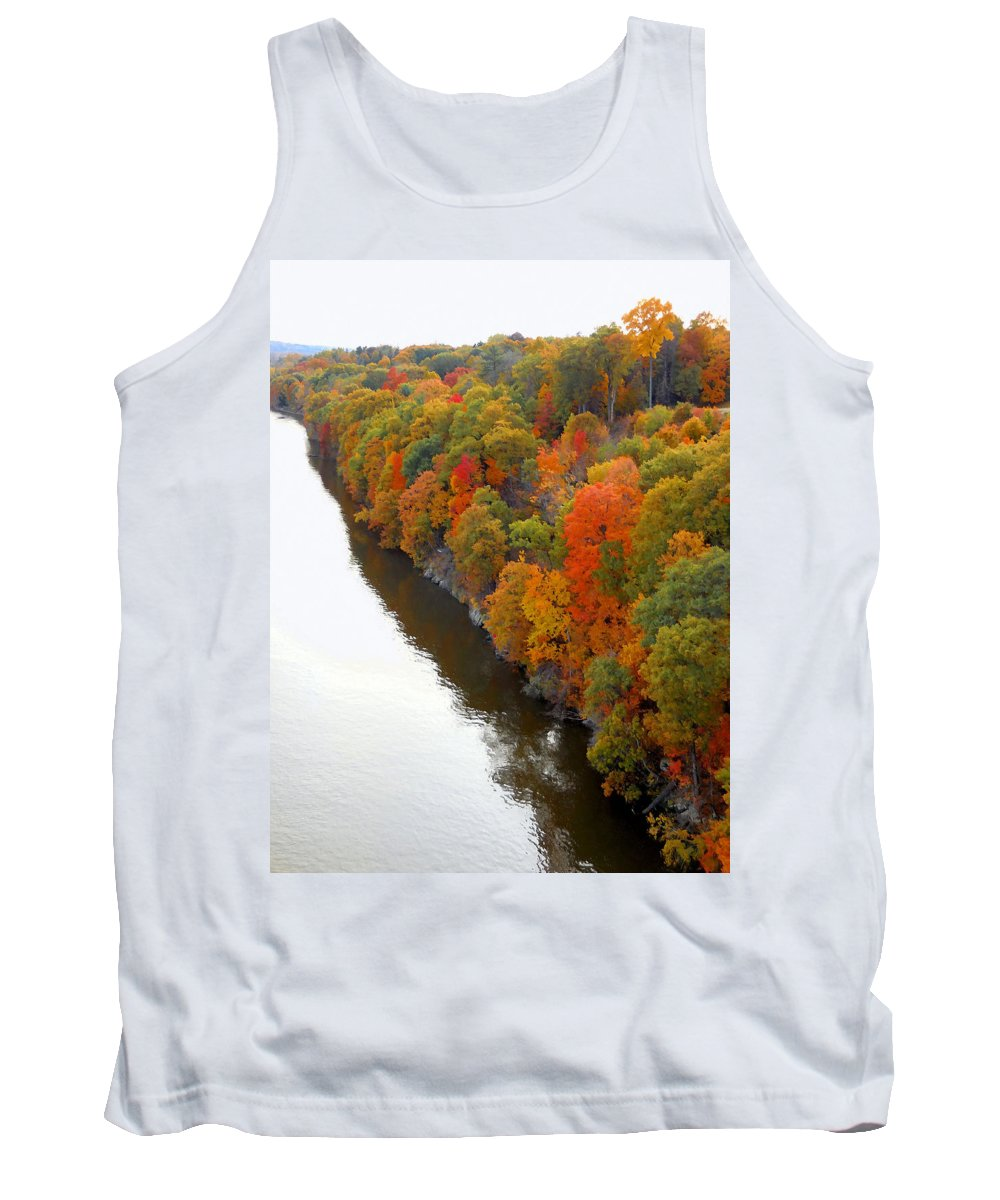 Fall Foliage In Hudson River Tank Top featuring the painting Fall Foliage In Hudson River 6 by Jeelan Clark