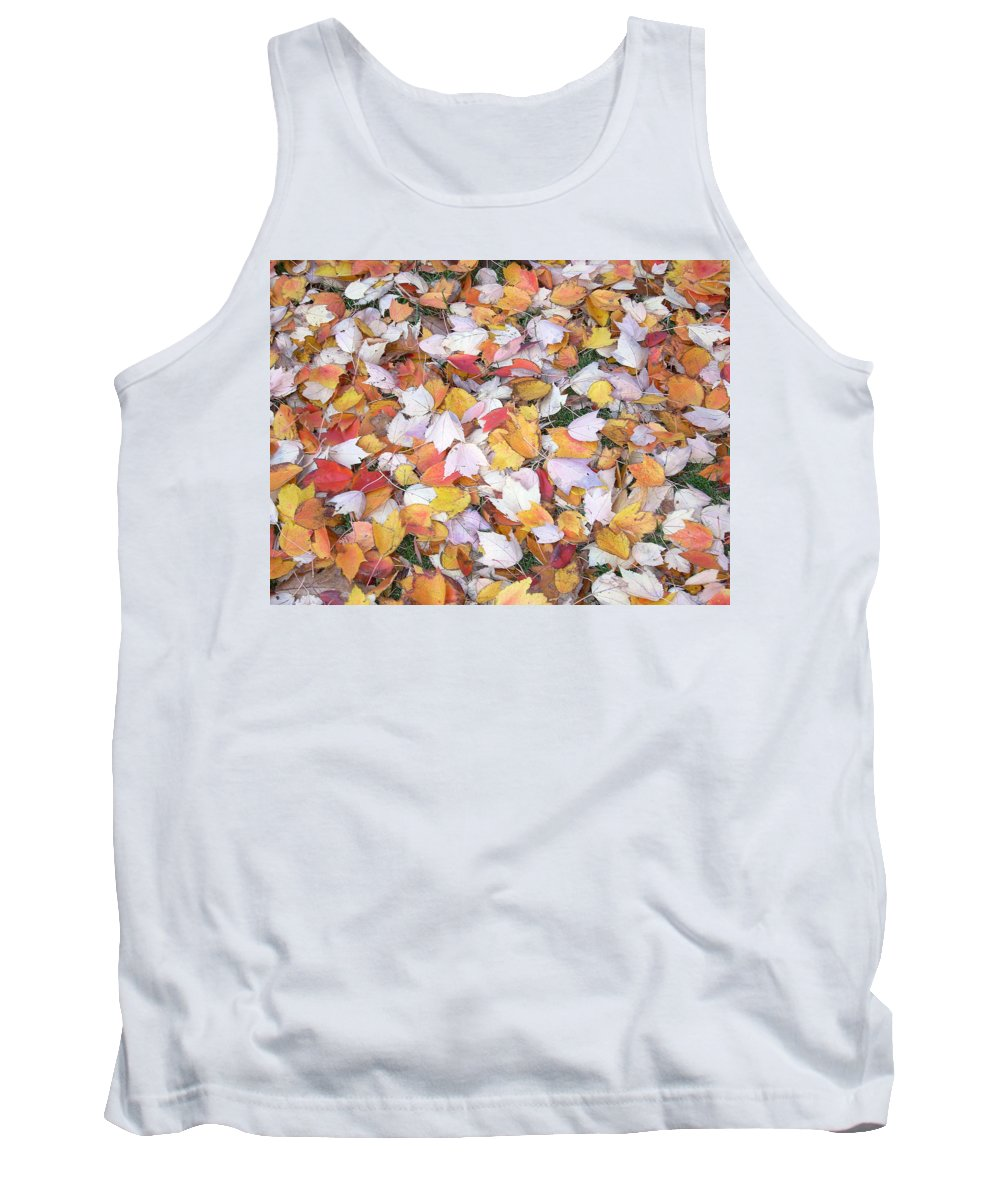 Photography Fall Autum Leaves Tank Top featuring the photograph Fallen Fantasy by Karin Dawn Kelshall- Best