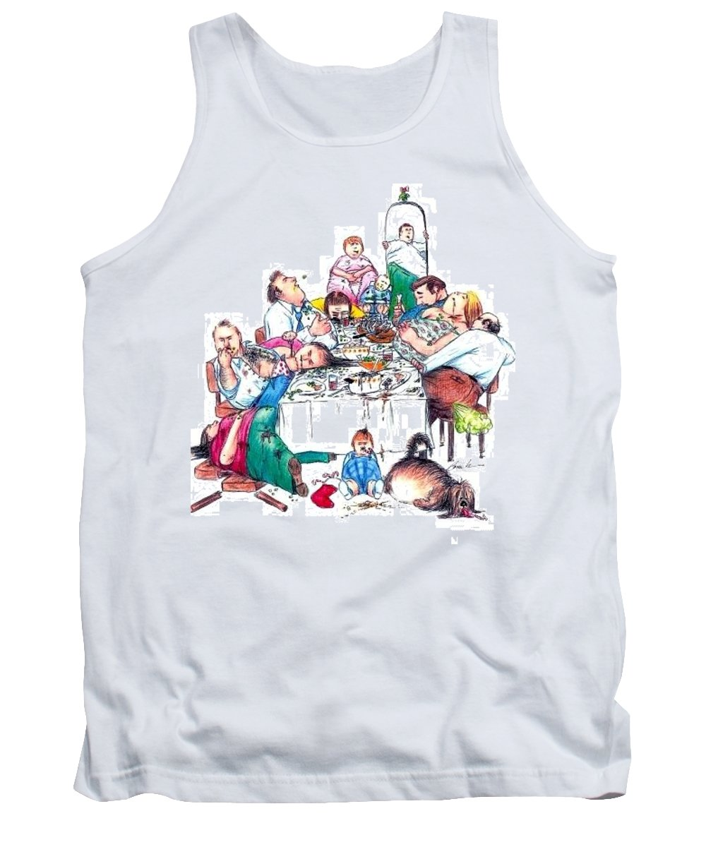 Humor Get Even Tank Top featuring the drawing Family Dinner by Bruce Lennon