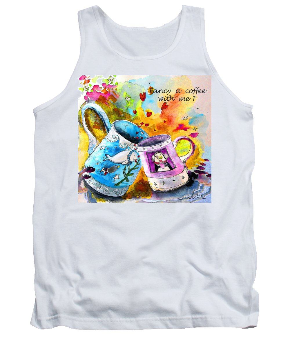 Cafe Crem Tank Top featuring the painting Fancy A Coffee by Miki De Goodaboom