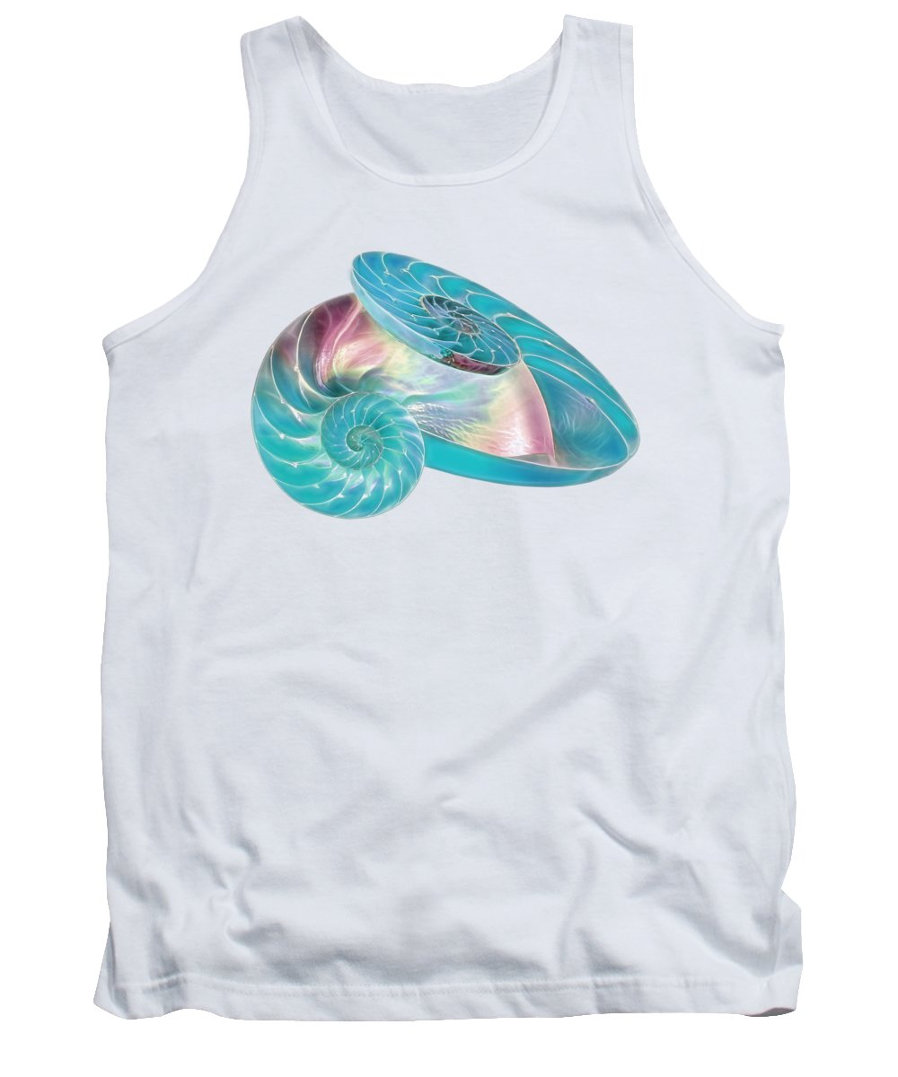 Nautilus Shell Tank Top featuring the photograph Fantasy Seashells Entwined by Gill Billington