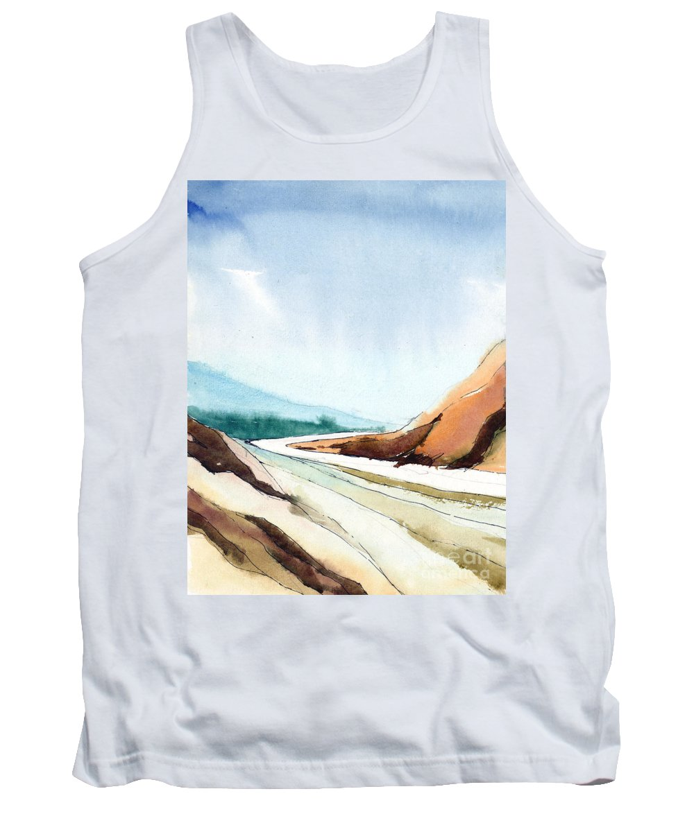 Landscape Tank Top featuring the painting Far Away by Anil Nene