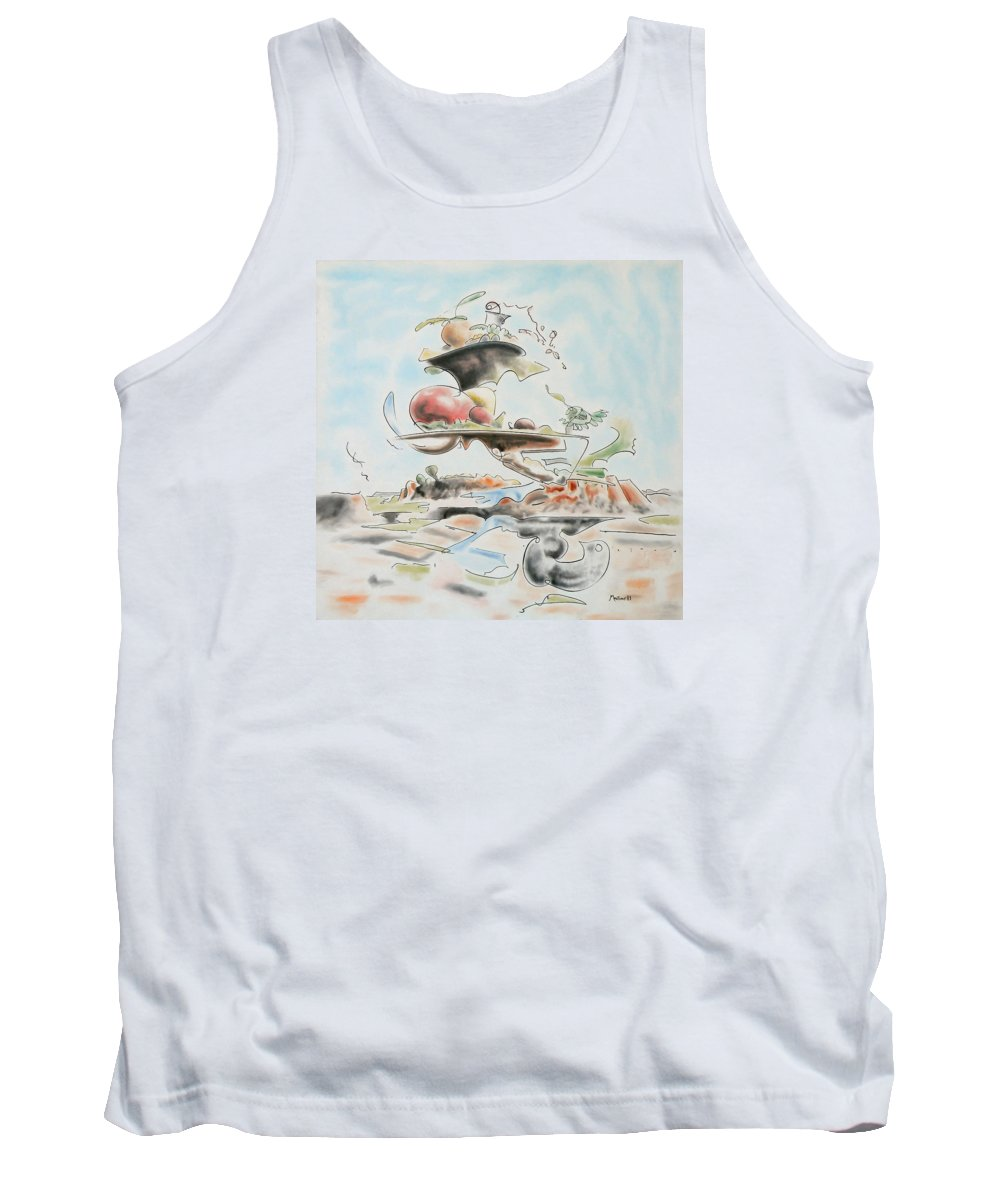 Abstract Tank Top featuring the painting Fast Food by Dave Martsolf