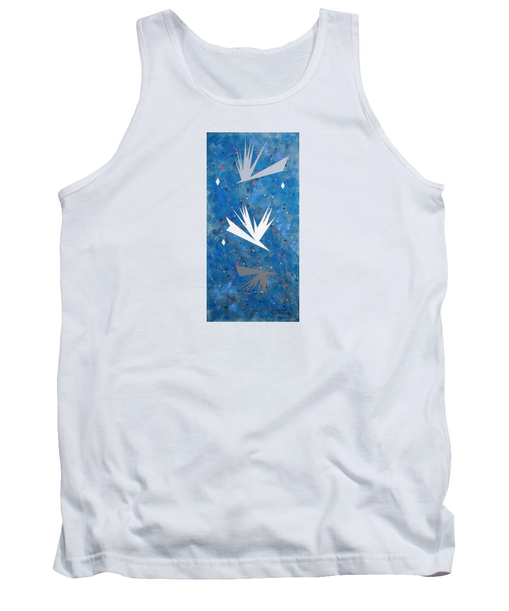 Birds And Diamond Stars Tank Top featuring the painting Feeding Frenzy by J R Seymour