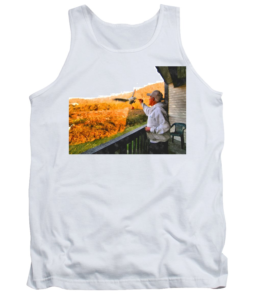 Yachats Tank Top featuring the photograph Feeding The Seagull by Image Takers Photography LLC - Carol Haddon