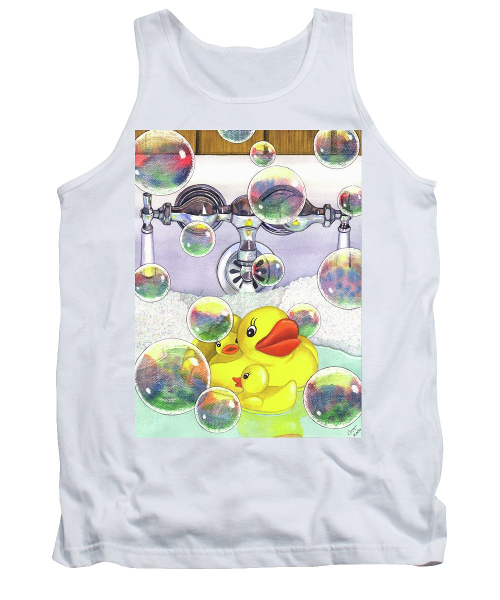 Bubbles Tank Top featuring the painting Feelin Ducky by Catherine G McElroy