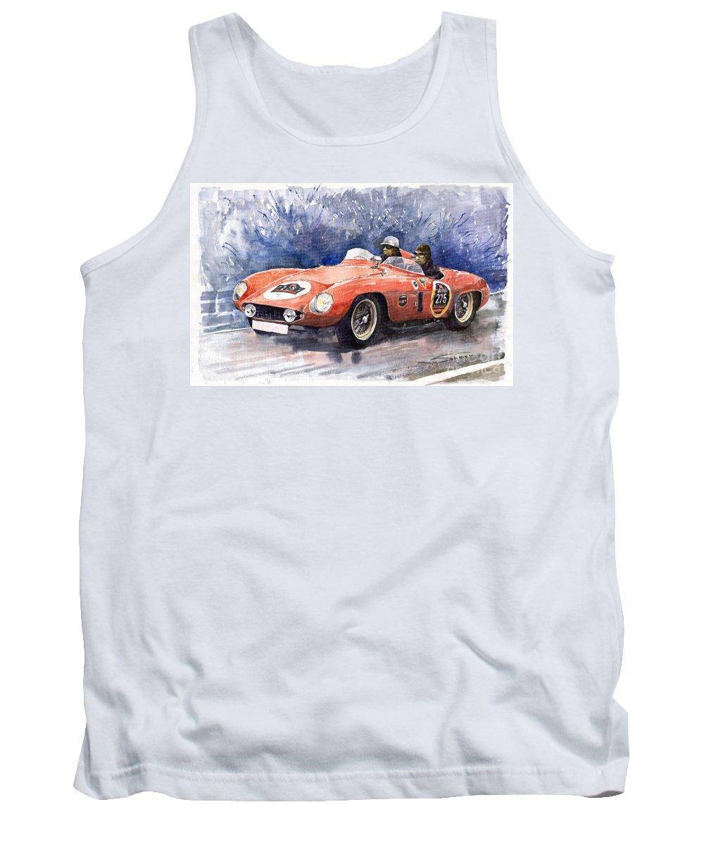 Auto Tank Top featuring the painting 1953-1955 Ferrari 500 Mondial 1000 Miglia by Yuriy Shevchuk