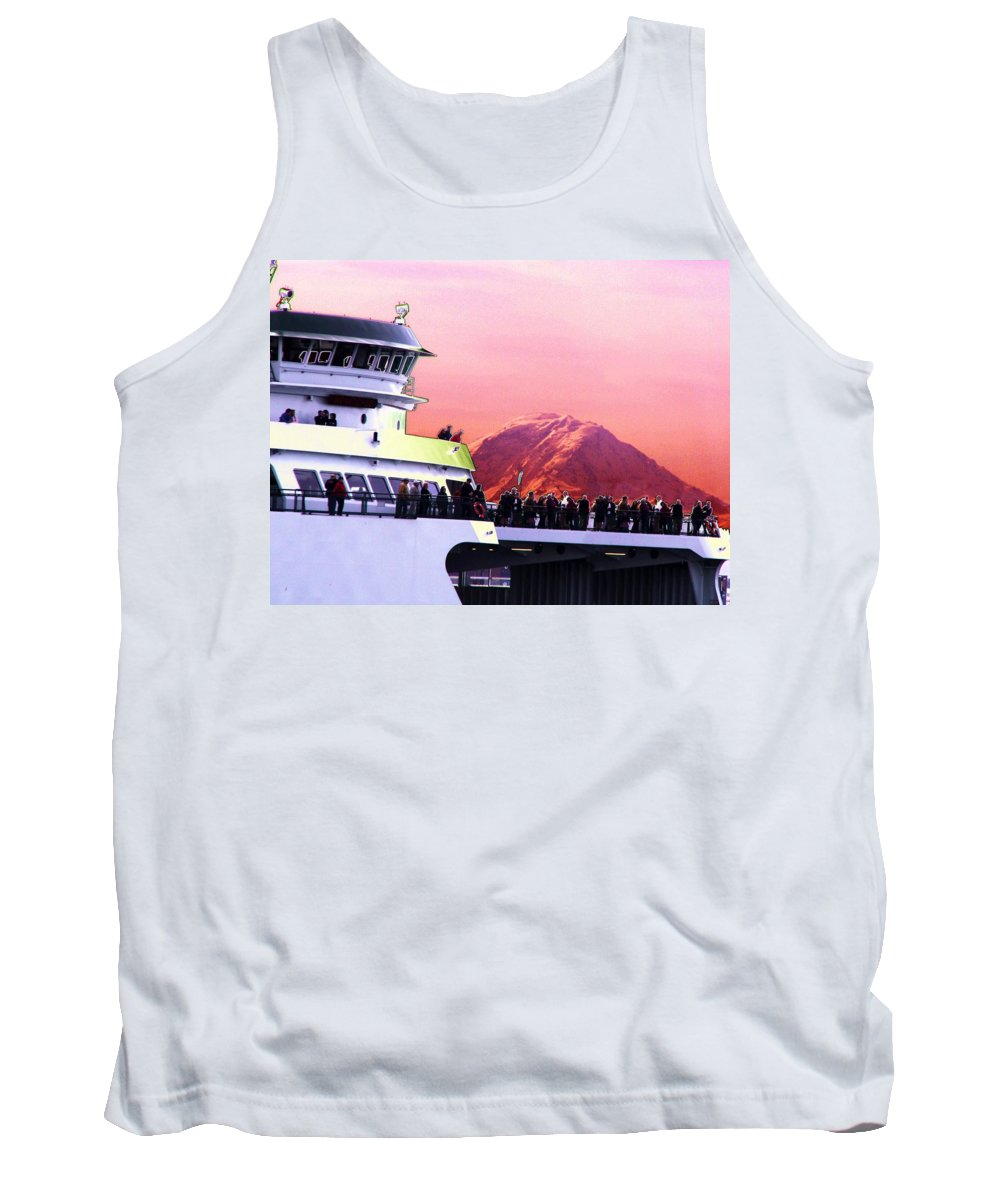 Seattle Tank Top featuring the digital art Ferry And Da Mountain by Tim Allen