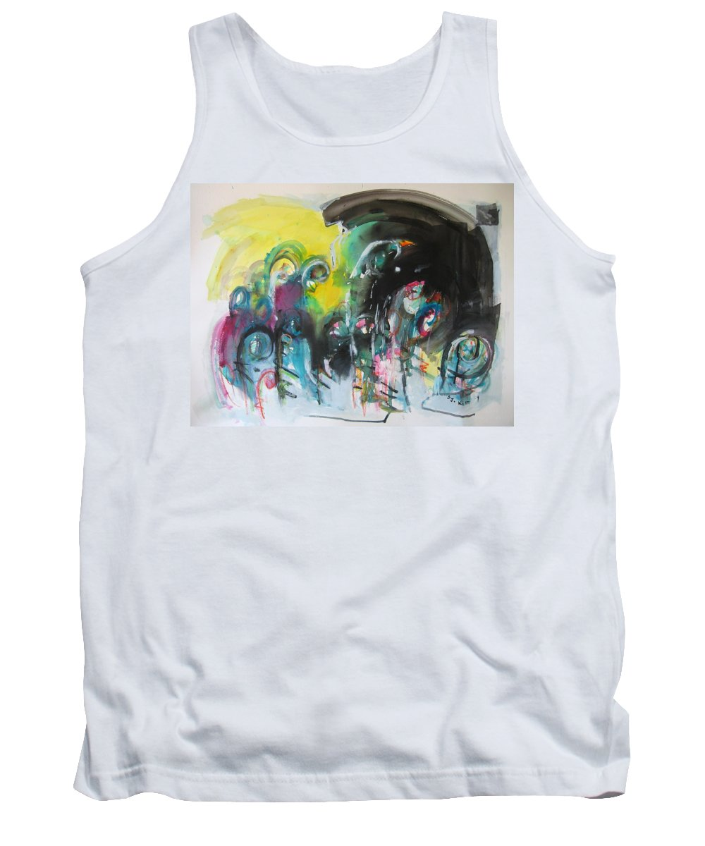 Fiddleheads Painting Tank Top featuring the painting Fiddleheads 105- Original Abstract Colorful Landscape Painting For Sale Red Blue Green by Seon-Jeong Kim
