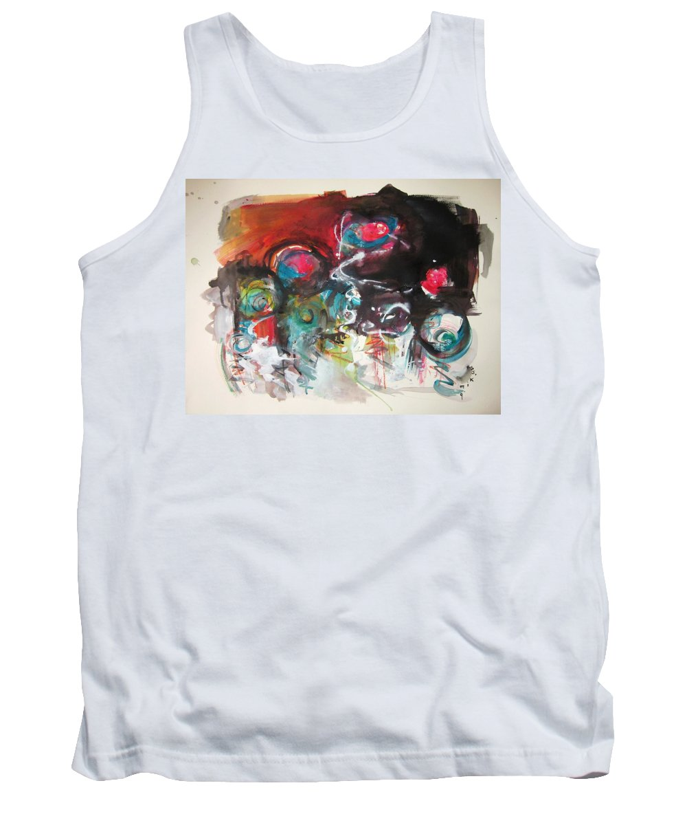 Fiddleheads Paintings Tank Top featuring the painting Fiddleheads- Landscape Painting For Sale Red Blue Green by Seon-Jeong Kim