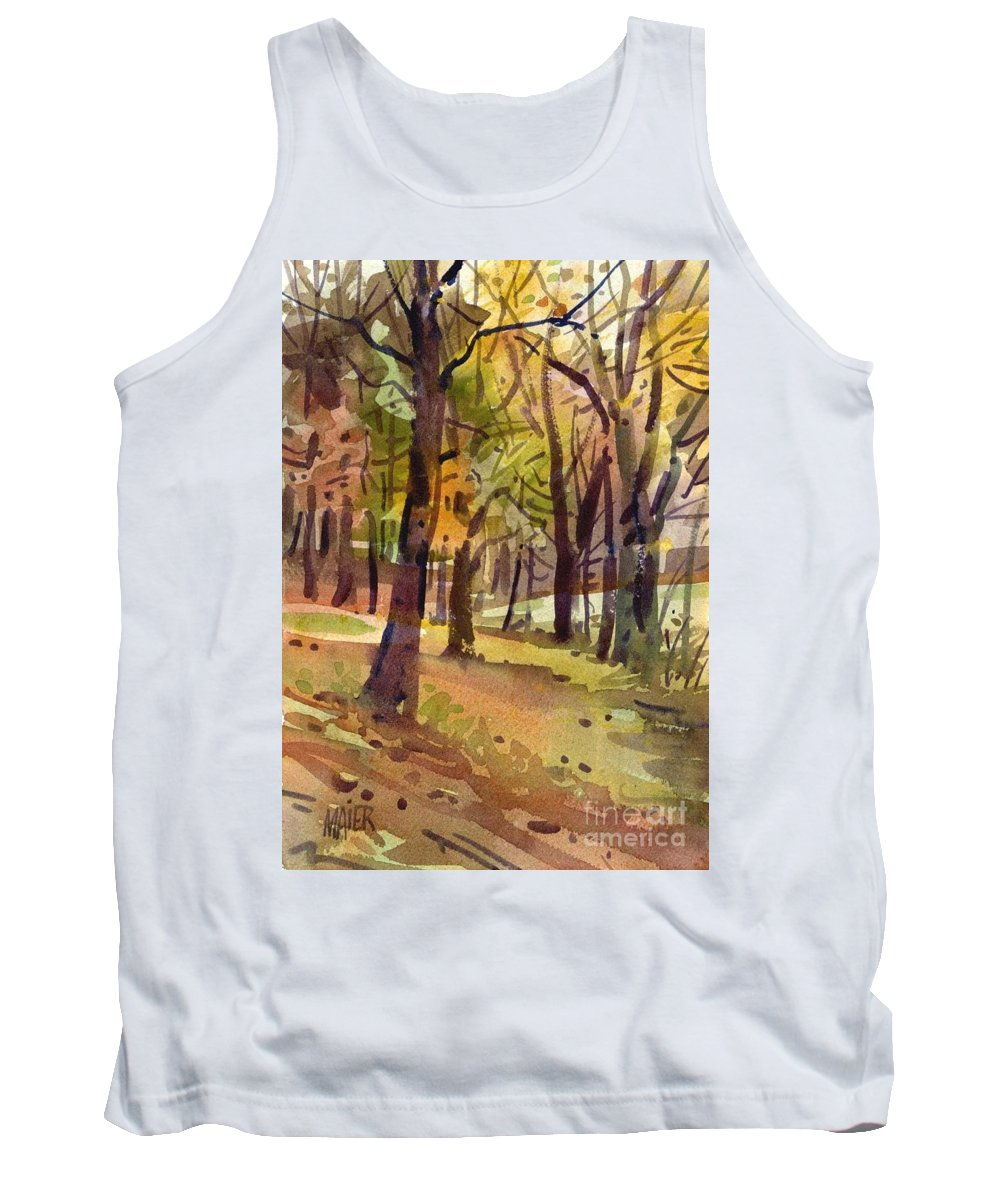Landscape Tank Top featuring the painting Field Of Gold by Donald Maier