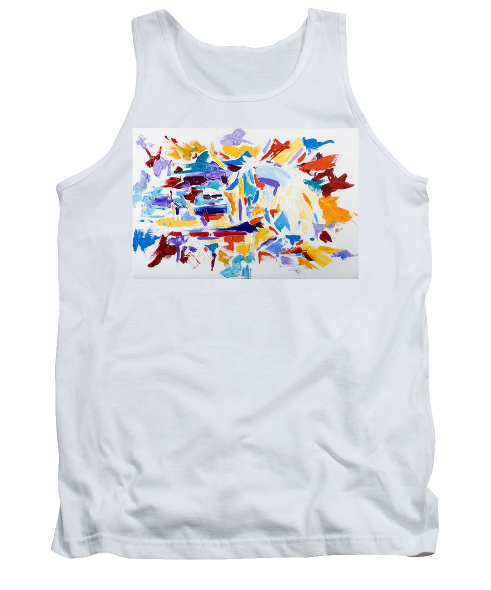 Abstract Yellow Tank Top featuring the painting Fiesta by Shannon Grissom