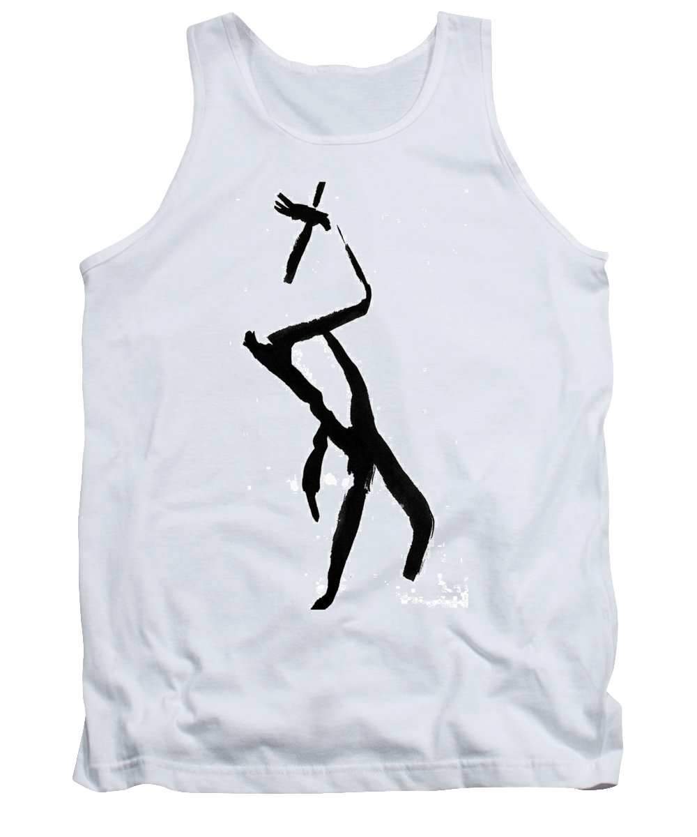 Silhouette Tank Top featuring the drawing Figure Silhouette by Nancy Mueller