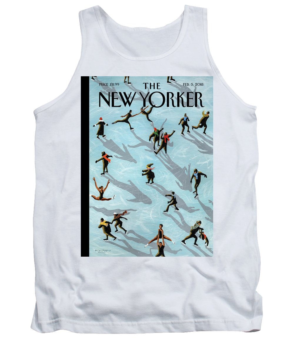 Figured Skaters Tank Top featuring the drawing Figured Skaters by Mark Ulriksen