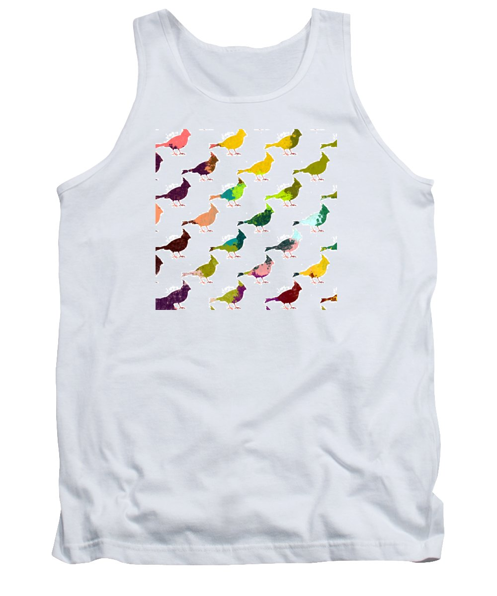 Bird Tank Top featuring the digital art Finch Pattern by Holly McGee