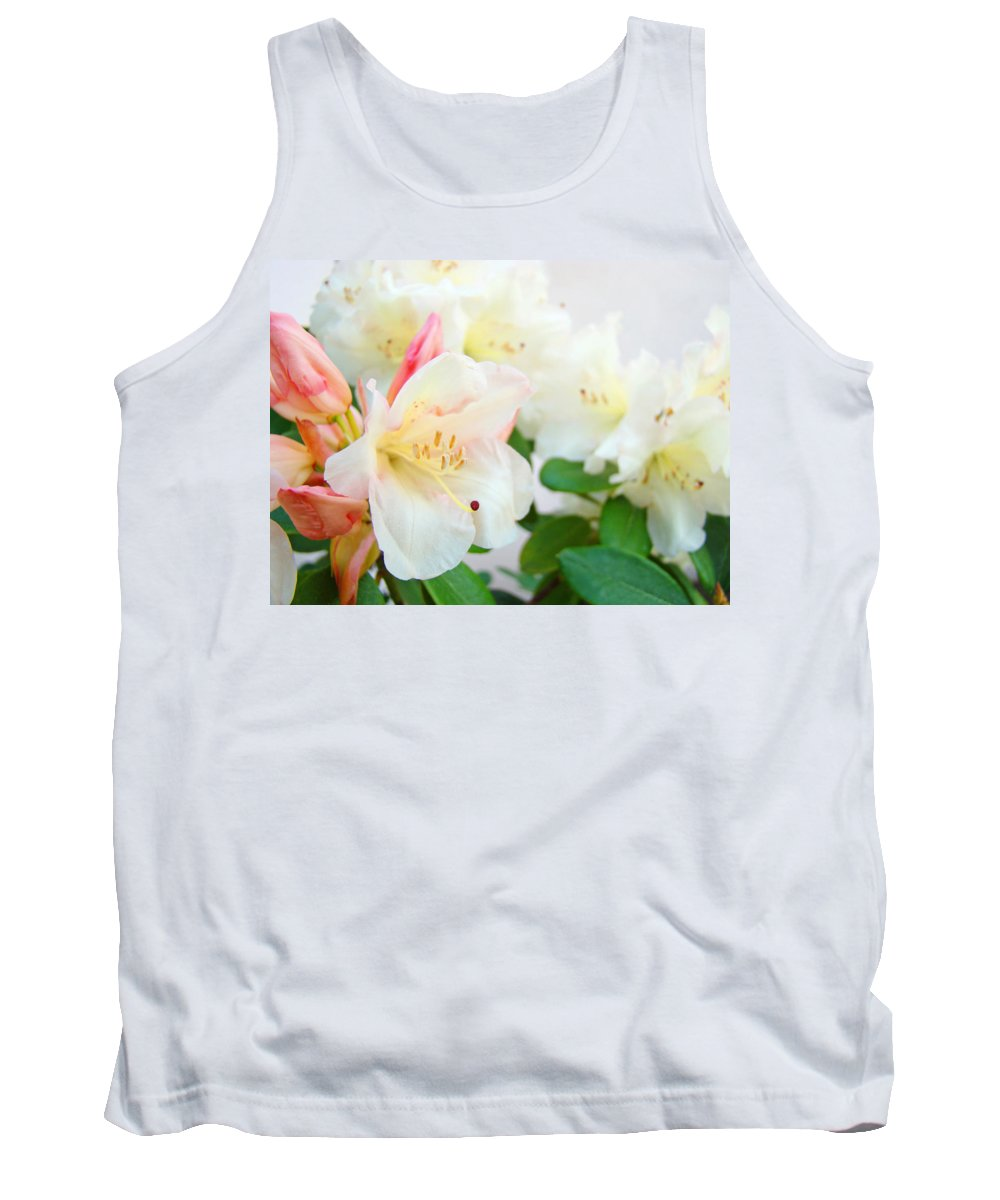 Rhodie Tank Top featuring the photograph Fine Art Florals Prints White Pink Rhodies Rhododendrons Baslee Troutman by Baslee Troutman